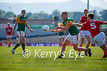 Stephen O'Brien, Kerry, in action against Cian Kiely, Cork, during the Munster GAA Football Senior Championship Final match between Kerry and Cork at Fitzgerald Stadium in Killarney on Sunday.