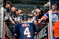 EDMONTON, CANADA - FEBRUARY 2: Taylor Hall #4 of the Edmonton Oilers leaves the ice before a game against the Los Angeles Kings at Rexall Place on February 2, 2011 in Edmonton, Alberta, Canada.  (Photo by Andy Devlin/NHLI via Getty Images) *** LOCAL CAPTION *** Taylor Hall