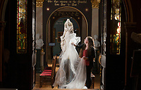 BNPS.co.uk (01202) 558833<br /> Pic: ZacharyCulpin/BNPS<br /> <br /> Art uncovered<br /> <br /> Eliza Bichard removes a dust sheet from sculpture 'The Reception' by Odoardo Tabacchi<br /> <br /> Staff at the Russell-Cotes Art Gallery & Museum in Bournemouth prepare for reopening next week after the Coronavirus pandemic lockdown.<br /> <br /> In 1907 husband and wife Merton and Annie Russell-Cotes donated East Cliff Hall and its contents including a fine art collection as a museum to the town of Bournemouth.  The couple travelled extensively visiting Australasia, America, India, the Near East, Egypt, the Pacific Islands and Japan, collecting artwork and souvenirs. <br /> After they died the Borough of Bournemouth managed East Cliff Hall before it opened as the Russell-Cotes Art Gallery and Museum in 1922.