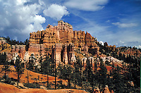 Pink cliffs, Utah, Paunsaugunt plateau, southern Utah, Colorado plateau, red rock, slickrock, slick rock, Claron formation, white pink and red limestones , hoodoos, fluted cliffs. Tropic Utah United States Garfield County, Kane County.