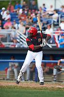 Batavia Muckdogs first baseman Lazaro Alonso (19) at bat during a game against the Auburn Doubledays on June 19, 2017 at Dwyer Stadium in Batavia, New York.  Batavia defeated Auburn 8-2 in both teams opening game of the season.  (Mike Janes/Four Seam Images)
