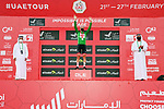 Race leader Tadej Pogacar (SLO) UAE Team Emirates retakes the Green Jersey at the finish of Stage 5 of the 2021 UAE Tour running 170km from International Marine Club Fujairah to Jebel Jais, Fujairah, UAE. 25th February 2021. <br /> Picture: LaPresse/Gian Mattia D'Alberto   Cyclefile<br /> <br /> All photos usage must carry mandatory copyright credit (© Cyclefile   LaPresse/Gian Mattia D'Alberto)