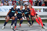 Cary, North Carolina  - Saturday June 03, 2017: Rosana, Debinha, Taylor Smith and Katelyn Rowland after a regular season National Women's Soccer League (NWSL) match between the North Carolina Courage and the FC Kansas City at Sahlen's Stadium at WakeMed Soccer Park. The Courage won the game 2-0.