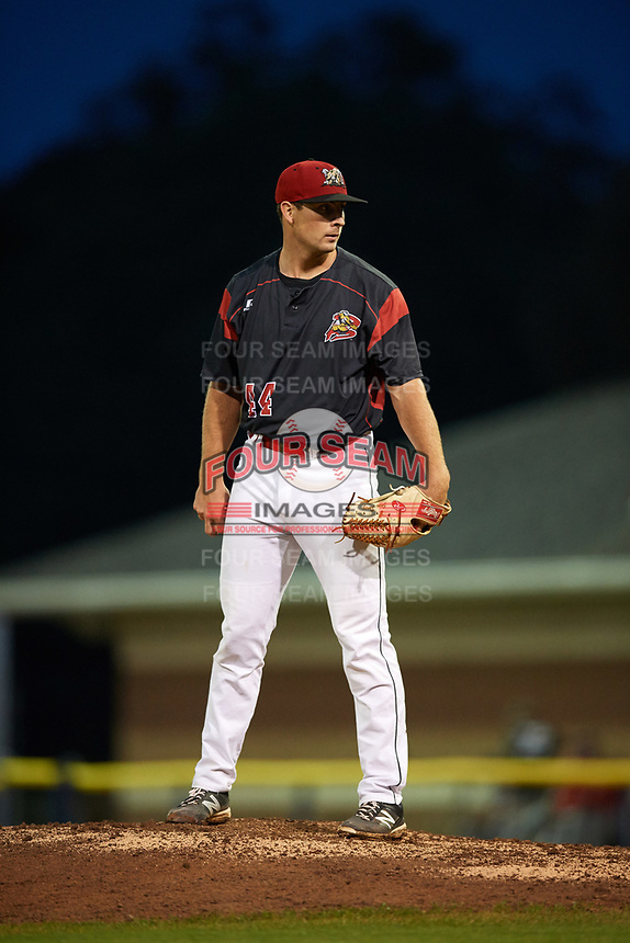 Batavia Muckdogs starting pitcher Sam Perez (44) looks in for the sign during a game against the Auburn Doubledays on September 6, 2017 at Dwyer Stadium in Batavia, New York.  Auburn defeated Batavia 6-3.  (Mike Janes/Four Seam Images)