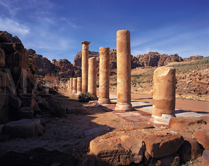 Roman columns in the centre of the ancient and abandoned city of Petra, Jordan. The Romans were one of several conquerors and inhabitants of Petra in ancient times