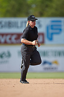 Umpire Jennifer Pawol hustles to get into position during the South Atlantic League game between the Lakewood BlueClaws and the Hickory Crawdads at L.P. Frans Stadium on April 28, 2019 in Hickory, North Carolina. The Crawdads defeated the BlueClaws 10-3. (Brian Westerholt/Four Seam Images)