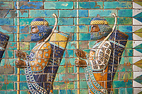 Ancent Assyrian glazed brick panels depicting Royal bodyguards or the Achaemenid King Darius from the Palace of Susa, 521-486 BC, Pergamon Museum, Berlin