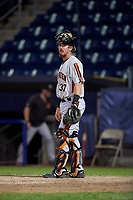 Aberdeen Ironbirds catcher Jordan Cannon (37) during a NY-Penn League game against the Staten Island Yankees on August 22, 2019 at Richmond County Bank Ballpark in Staten Island, New York.  Aberdeen defeated Staten Island 4-1 in a rain shortened game.  (Mike Janes/Four Seam Images)