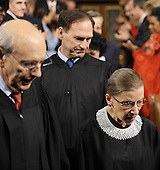 Associate Justices of the United States Supreme Court Stephen Breyer, left, Samuel Alito, center, and Ruth Bader Ginsburg enter the U.S. House of Representatives Chamber prior to U.S .President Barack Obama delivering his first State of the Union speech to a joint session of the U.S. Congress, Wednesday, January 27, 2010 in Washington, D.C. .Credit: Tim Sloan - Pool via CNP