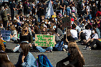 """Rome, 09/10/2020. Today, thousands of students and people gathered in Piazza del Popolo to take part in the """"Climate Strike"""" demonstration (1.). The series of demonstrations, held in different squares across Italy, were the first organised since the beginning of the pandemic Covid-19/Coronavirus and follow the """"Fridays for Future"""" actions directly related to Greta Thunberg (2.), the 16 year old """"Swedish political activist seeking to stop global warming and climate change, [who] in August 2018 became a prominent figure for starting the first school strike for climate, outside the Swedish parliament building"""" (source Wikipedia.org, 3.). <br /> <br /> Footnotes & Links:<br /> 1. https://bit.ly/fKbaJ <br /> 2. @GretaThunberg (Personal Twitter page - No Personal Website available) <br /> 3. https://en.wikipedia.org/wiki/Greta_Thunberg<br /> Previous Demonstrations: http://bit.do/fKbaX & http://bit.do/fKba2"""