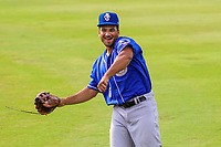 Biloxi Shuckers outfielder Trent Grisham (6) warms up in the outfield prior to a Southern League game against the Jackson Generals on July 26, 2018 at The Ballpark at Jackson in Jackson, Tennessee. Jackson defeated Biloxi 9-5. (Brad Krause/Four Seam Images)