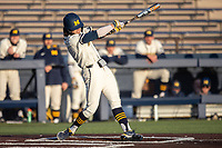 Michigan Wolverines designated hitter Jake Marti (7) swings the bat during the NCAA baseball game against the Illinois Fighting Illini at Fisher Stadium on March 19, 2021 in Ann Arbor, Michigan. Illinois won the game 7-4. (Andrew Woolley/Four Seam Images)