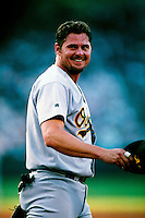 Jason Giambi of the Oakland Athletics plays in a baseball game at Edison International Field during the 1998 season in Anaheim, California. (Larry Goren/Four Seam Images)