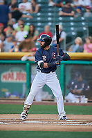 Kaleb Cowart (22) of the Salt Lake Bees bats against the El Paso Chihuahuas at Smith's Ballpark on July 5, 2018 in Salt Lake City, Utah. El Paso defeated Salt Lake 3-2. (Stephen Smith/Four Seam Images)