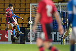 Dave Mackay Testimonial: St Johnstone v Dundee…06.10.17…  McDiarmid Park… <br />Sofien Moussa heads in Dundee's third goal<br />Picture by Graeme Hart. <br />Copyright Perthshire Picture Agency<br />Tel: 01738 623350  Mobile: 07990 594431