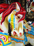Close up of carousel horse.