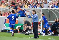 USA 2-1 over El Salvador in a CONCACAF World Cup qualifying match at Rio Tinto Stadium, in Sandy Utah, Saturday, September 5, 2009. El Salvador coach, Carlos de los Cobos yells to his team.