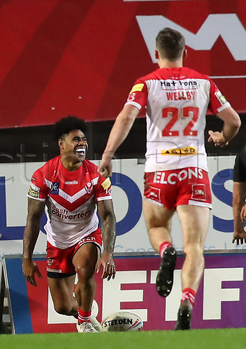 20th November 2020; Totally Wicked Stadium, Saint Helens, Merseyside, England; BetFred Super League Playoff Rugby, Saint Helens Saints v Catalan Dragons; Kevin Naiqama of St Helens celebrates his 66th minute try which gives his team a 34-2 lead