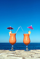 Tropical cotail beverages at a island resort.