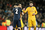 FC Barcelona's Luis Suarez (c) and Gerard Pique (r) and  Atletico de Madrid's Diego Godin during Champions League 2015/2016 match. April 5,2016. (ALTERPHOTOS/Acero)