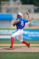 Pitcher Alexander Luck (15) during the Dominican Prospect League Elite Underclass International Series, powered by Baseball Factory, on August 31, 2017 at Silver Cross Field in Joliet, Illinois.  (Mike Janes/Four Seam Images)