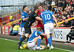 Aberdeen v St Johnstone…14.09.19   Pittodrie   SPFL<br />Referee Steven McLean pushes Lewis Ferguson away from Ali McCann<br />Picture by Graeme Hart.<br />Copyright Perthshire Picture Agency<br />Tel: 01738 623350  Mobile: 07990 594431