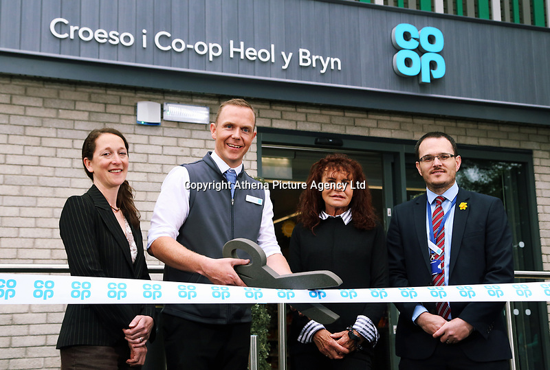 (L-R) Councillor Mary Sherwood, store manager Aled Jones, Local Councillor Irene Mann and area manager Chris Ellis