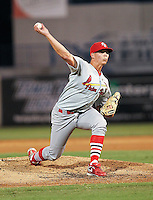 May 20, 2010 Pitcher Kevin Thomas of the Palm Beach Cardinals, Florida State League Class-A affiliate of the St.Louis Cardinals, delivers a pitch during a game at George M. Steinbrenner Field in Tampa, FL. Photo by: Mark LoMoglio/Four Seam Images