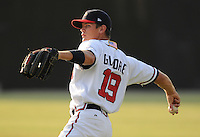 June 19, 2008: Infielder Jon Gilmore (19) of the Danville Braves, rookie Appalachian League affiliate of the Atlanta Braves, prior to a game against the Burlington Royals at Dan Daniel Memorial Park in Danville, Va. Photo by:  Tom Priddy/Four Seam Images