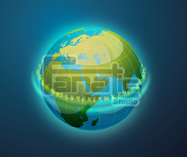 Conceptual image of globe surrounded by currency symbols depicting world banking