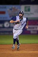Brooklyn Cyclones first baseman Zach Mathieu (32) running the bases during the first game of a doubleheader against the Connecticut Tigers on September 2, 2015 at Senator Thomas J. Dodd Memorial Stadium in Norwich, Connecticut.  Brooklyn defeated Connecticut 7-1.  (Mike Janes/Four Seam Images)