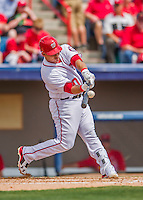13 March 2016: Washington Nationals catcher Wilson Ramos singles to lead off the second inning during a pre-season Spring Training game against the St. Louis Cardinals at Space Coast Stadium in Viera, Florida. The teams played to a 4-4 draw in Grapefruit League play. Mandatory Credit: Ed Wolfstein Photo *** RAW (NEF) Image File Available ***