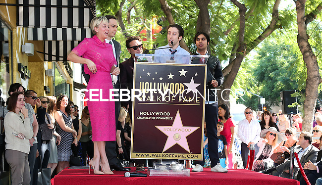 HOLLYWOOD, LOS ANGELES, CA, USA - OCTOBER 29: Kaley Cuoco, Jim Parsons, Johnny Galecki, Simon Helberg, Kunal Nayyar at the ceremony honoring Kaley Cuoco with a star in the Hollywood Walk Of Fame on October 29, 2014 in Hollywood, Los Angeles, California, United States. (Photo by Xavier Collin/Celebrity Monitor)