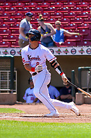 Cedar Rapids Kernels catcher Ben Rodriguez (8) swings at a pitch during a Midwest League game against the Clinton LumberKings on May 28, 2018 at Perfect Game Field at Veterans Memorial Stadium in Cedar Rapids, Iowa. Clinton defeated Cedar Rapids 4-3. (Brad Krause/Four Seam Images)