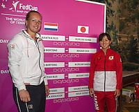 The Netherlands, Den Bosch, 16.04.2014. Fed Cup Netherlands-Japan, Draw, second single : Kiki Bertens vs Misaki Doi<br /> Photo:Tennisimages/Henk Koster