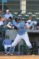 Myrtle Beach Pelicans third baseman Christian Villanueva #14 at bat during the first game of a doubleheader against the Carolina Mudcats at Tickerreturn.com Field at Pelicans Ballpark on May 10, 2012 in Myrtle Beach, South Carolina. Myrtle Beach defeated Carolina by the score of 2-1. (Robert Gurganus/Four Seam Images)