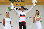 Tejay Van Garderen (USA) BMC Racing Team retains the young riders White Jersey at the end of Stage 2 of the 99th edition of the Tour de France 2012, running 207.5km from Vise to Tournai, Belgium. 2nd July 2012.<br /> (Photo by Eoin Clarke/NEWSFILE)