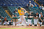 Siena Saints third baseman Brian Kelly (14) at bat during a game against the Pittsburgh Panthers on February 24, 2017 at Historic Dodgertown in Vero Beach, Florida.  Pittsburgh defeated Siena 8-2.  (Mike Janes/Four Seam Images)