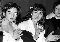 Montreal (qc) CANADA - file Photo - 1990 - <br /> <br /> <br />  - Premiere of LE PARTY, directed by Quebec film maker Pierre Falardeau,<br /> actress  Charlotte Laurier (L), Andrea Parro (M)