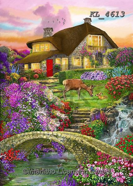 Interlitho-Franco, LANDSCAPES, LANDSCHAFTEN, PAISAJES, paintings+++++,landscape, bridge,KL4613,#l#, EVERYDAY ,puzzle,puzzles ,countryside,romantic,county house