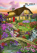 Interlitho-Franco, LANDSCAPES, LANDSCHAFTEN, PAISAJES, paintings+++++,landscape, bridge,KL4613,#l#, EVERYDAY ,puzzle,puzzles ,countryside,romantic,county house
