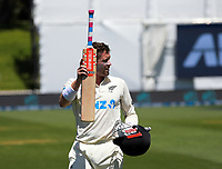 NZ's Henry Nicholls walks in after his innings of 174 during day two of the second International Test Cricket match between the New Zealand Black Caps and West Indies at the Basin Reserve in Wellington, New Zealand on Friday, 11 December 2020. Photo: Dave Lintott / lintottphoto.co.nz