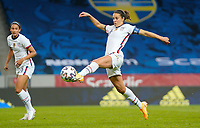 SOLNA, SWEDEN - APRIL 10: Carli Lloyd #10 of the United States traps the ball during a game between Sweden and USWNT at Friends Arena on April 10, 2021 in Solna, Sweden.
