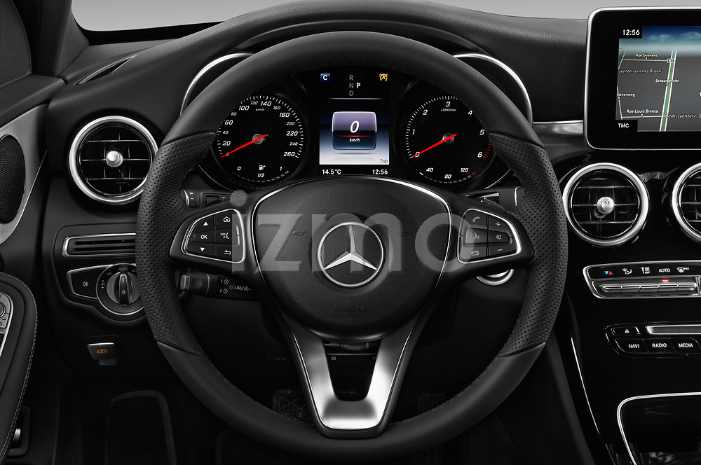 Car pictures of steering wheel view of a 2018 Mercedes Benz C Class AMG Line 5 Door Wagon