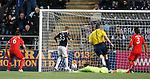 Rory Loy beats Steve Simonsen to score for Falkirk