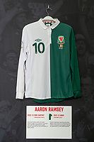 Aaron Ramsey'  2012/13 Wales away shirt is displayed at The Art of the Wales Shirt Exhibition at St Fagans National Museum of History in Cardiff, Wales, UK. Monday 11 November 2019