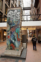 Montreal (Qc) CANADA, March 19, 2007.....A piece from the Berlin Wall....Ruelle des Fortifications,.. World Trade Centre Montreal..           ..photo (c) Pierre Roussel -  Images Distribution....