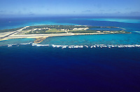Aerial view (looking in the direction of west) of Midway Atoll, Northwestern Hawaiian Islands; 1988