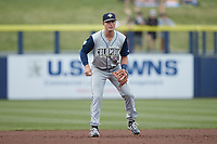 Columbia Fireflies third baseman Jake Means (9) on defense against the Kannapolis Cannon Ballers at Atrium Health Ballpark on May 18, 2021 in Kannapolis, North Carolina. (Brian Westerholt/Four Seam Images)
