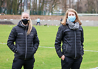 Magali Dinon and Eline De Deygere picture before a female soccer game between FC Femina White Star Woluwe and Sporting Charleroi on the 10 th matchday of the 2020 - 2021 season of Belgian Scooore Womens Super League , Saturday 19 th of December 2020  in Woluwe , Belgium . PHOTO SPORTPIX.BE | SPP | SEVIL OKTEM